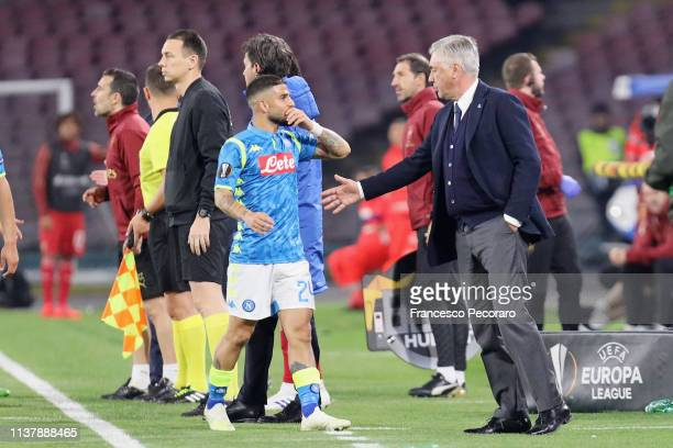 Coach of SSC Napoli Carlo Ancelotti and player Lorenzo Insigne during the UEFA Europa League Quarter Final Second Leg match between SSC Napoli and...