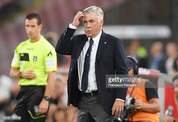 Coach of SSC Napoli Carlo Ancelotti during the serie A match between SSC Napoli and AC Milan at Stadio San Paolo on August 25 2018 in Naples Italy