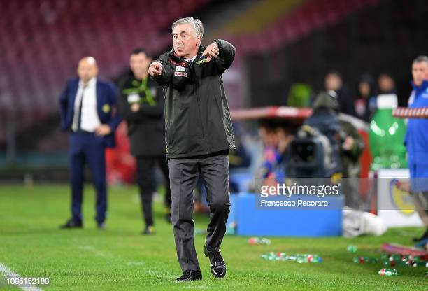 Coach of SSC Napoli Carlo Ancelotti gestures during the Serie A match between SSC Napoli and Chievo Verona at Stadio San Paolo on November 25 2018 in...