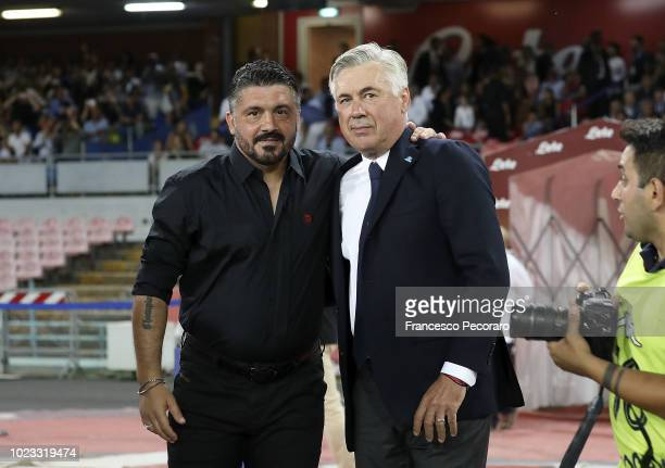 Coach of SSC Napoli Carlo Ancelotti greets coach of AC Milan Gennaro Gattuso before the serie A match between SSC Napoli and AC Milan at Stadio San...