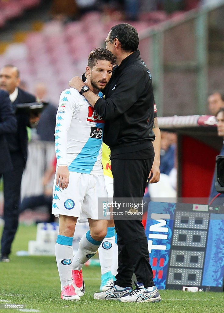 Coach of SSC Napoli Maurizio Sarri and player Dries Mertens during the Serie A match between SSC Napoli and Cagliari Calcio at Stadio San Paolo on May 6, 2017 in Naples, Italy.