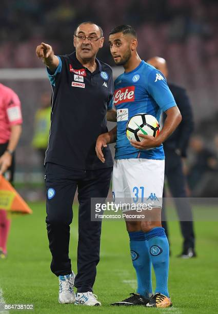 Coach of SSC Napoli Maurizio Sarri and player Faouzi Ghoulam during the Serie A match between SSC Napoli and FC Internazionale at Stadio San Paolo on...