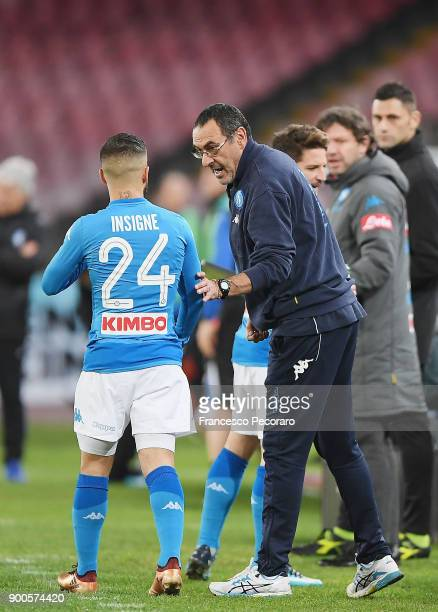 Coach of SSC Napoli Maurizio Sarri and player Lorenzo Insigne during the TIM Cup match between SSC Napoli and Atalanta BC on January 2 2018 in Naples...