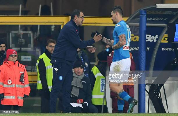 Coach of SSC Napoli Maurizio Sarri and player Marek Hamsik during the Serie A match between Torino FC and SSC Napoli at Stadio Olimpico di Torino on...