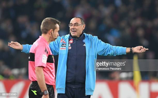 Coach of SSC Napoli Maurizio Sarri complaint for a penalty kick not granted during the Serie A match between SSC Napoli and Juventus at Stadio San...