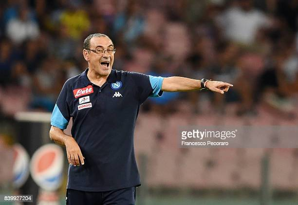 Coach of SSC Napoli Maurizio Sarri gestures during the Serie A match between SSC Napoli and Atalanta BC at Stadio San Paolo on August 27 2017 in...