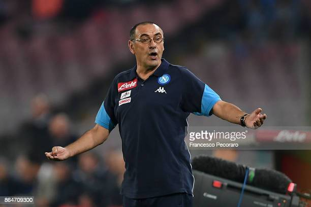 Coach of SSC Napoli Maurizio Sarri gestures during the Serie A match between SSC Napoli and FC Internazionale at Stadio San Paolo on October 21 2017...
