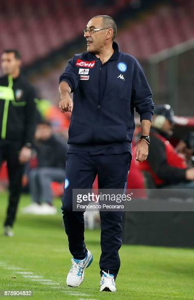 Coach of SSC Napoli Maurizio Sarri gestures during the Serie A match between SSC Napoli and AC Milan at Stadio San Paolo on November 18 2017 in...