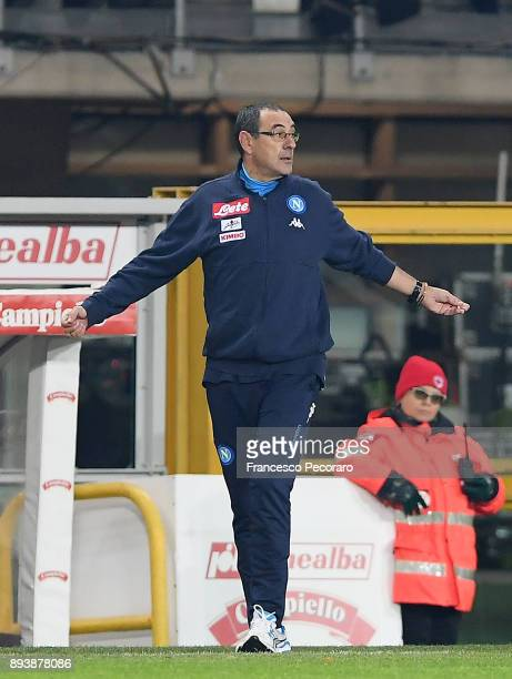 Coach of SSC Napoli Maurizio Sarri gestures during the Serie A match between Torino FC and SSC Napoli at Stadio Olimpico di Torino on December 16...