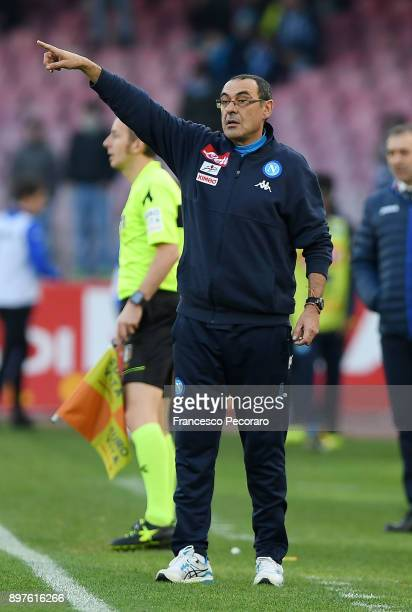 Coach of SSC Napoli Maurizio Sarri gestures during the Serie A match between SSC Napoli and UC Sampdoria at Stadio San Paolo on December 23 2017 in...