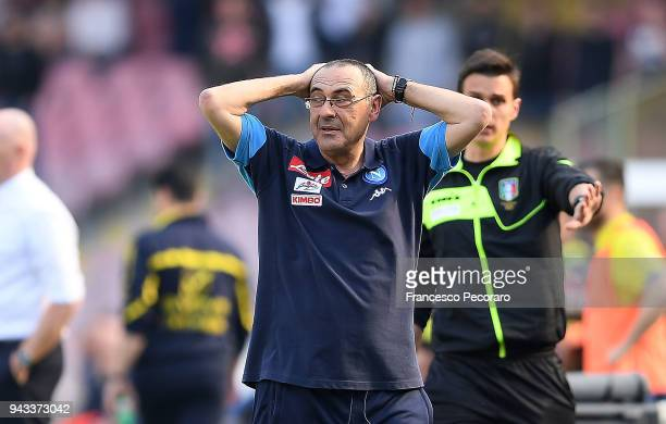Coach of SSC Napoli Maurizio Sarri gestures during the serie A match between SSC Napoli and AC Chievo Verona at Stadio San Paolo on April 8 2018 in...