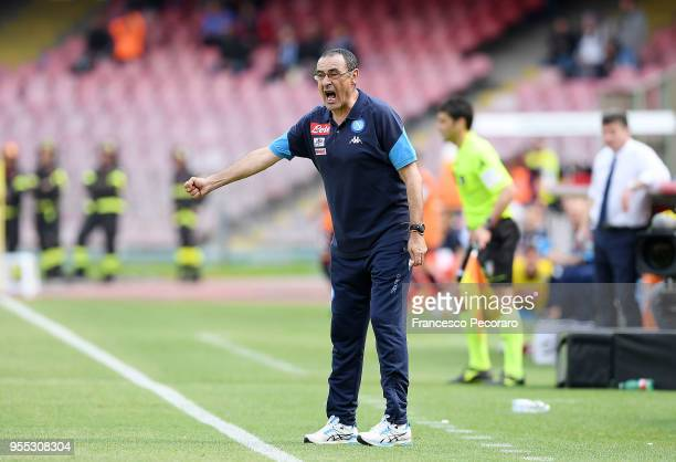Coach of SSC Napoli Maurizio Sarri gestures during the serie A match between SSC Napoli and Torino FC at Stadio San Paolo on May 6 2018 in Naples...