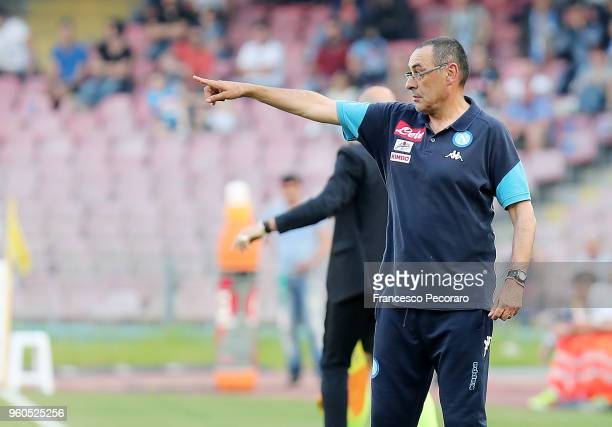 Coach of SSC Napoli Maurizio Sarri gestures during the Serie A match between SSC Napoli and FC Crotone at Stadio San Paolo on May 20 2018 in Naples...