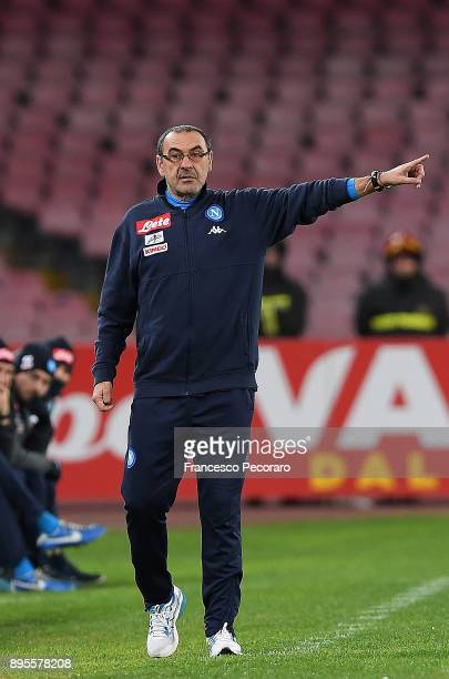 Coach of SSC Napoli Maurizio Sarri gestures during the TIM Cup match between SSC Napoli and Udinese Calcio at Stadio San Paolo on December 19 2017 in...