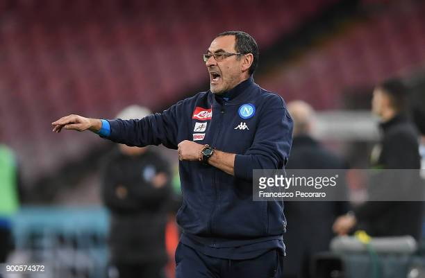 Coach of SSC Napoli Maurizio Sarri gestures during the TIM Cup match between SSC Napoli and Atalanta BC on January 2 2018 in Naples Italy
