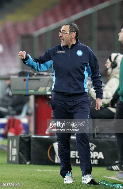 Coach of SSC Napoli Maurizio Sarri gestures during UEFA Europa League Round of 32 match between Napoli and RB Leipzig at the Stadio San Paolo on...