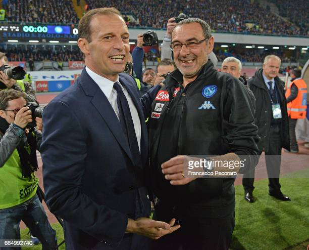 Coach of SSC Napoli Maurizio Sarri greets coach Juventus FC Massimiliano Allegri before the TIM Cup match between SSC Napoli and Juventus FC at...