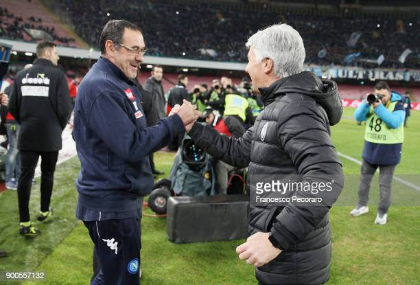 Coach of SSC Napoli Maurizio Sarri greets coach of Atalanta BC Gian Piero Gasperini before the TIM Cup match between SSC Napoli and Atalanta BC on...