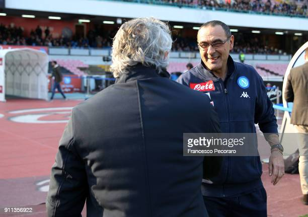 Coach of SSC Napoli Maurizio Sarri greets coach of Bologna FC Roberto Donadoni before the serie A match between SSC Napoli and Bologna FC at Stadio...
