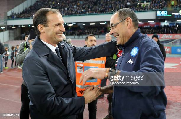 Coach of SSC Napoli Maurizio Sarri greets coach of Juventus Massimiliano Allegri during the Serie A match between SSC Napoli and Juventus at Stadio...