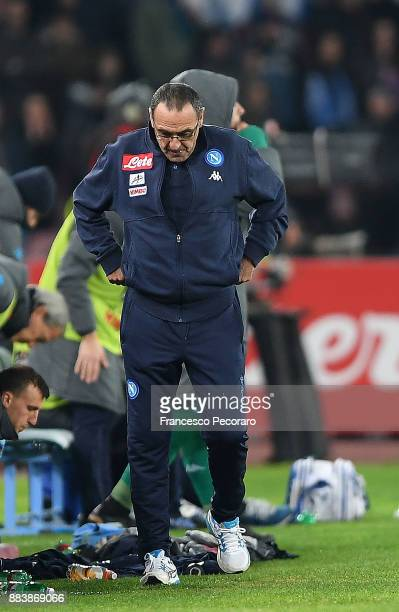 Coach of SSC Napoli Maurizio Sarri is disappointed during the Serie A match between SSC Napoli and Juventus at Stadio San Paolo on December 1 2017 in...