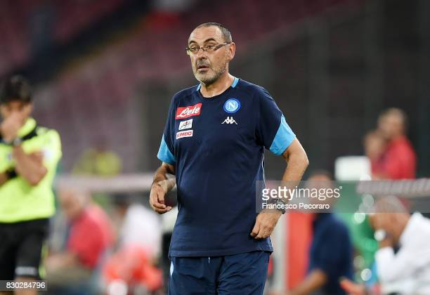 Coach of SSC Napoli Maurizio Sarri looks on during the preseason friendly match between SSC Napoli and Espanyol at Stadio San Paolo on August 10 2017...