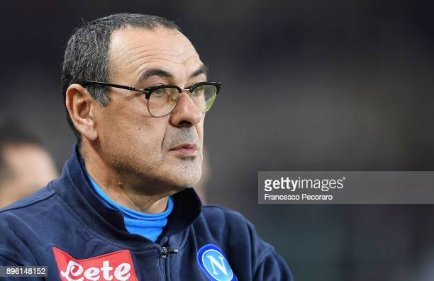 Coach of SSC Napoli Maurizio Sarri looks on during the Serie A match between Torino FC and SSC Napoli at Stadio Olimpico di Torino on December 16...