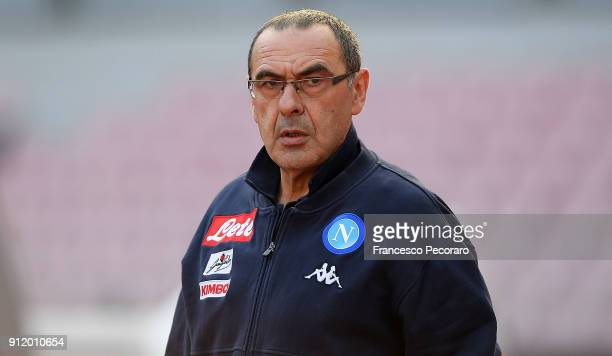 Coach of SSC Napoli Maurizio Sarri looks on during the serie A match between SSC Napoli and Bologna FC at Stadio San Paolo on January 28 2018 in...