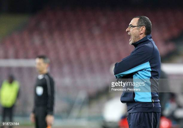 Coach of SSC Napoli Maurizio Sarri looks on during UEFA Europa League Round of 32 match between Napoli and RB Leipzig at the Stadio San Paolo on...