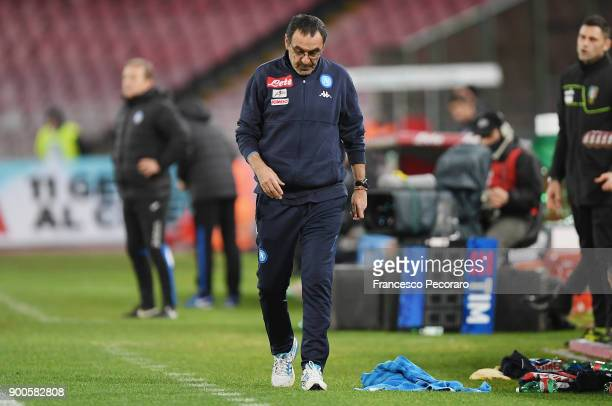 Coach of SSC Napoli Maurizio Sarri stands disappointed during the TIM Cup match between SSC Napoli and Atalanta BC on January 2 2018 in Naples Italy