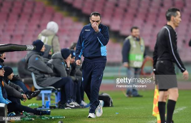 Coach of SSC Napoli Maurizio Sarri stands disappointed during UEFA Europa League Round of 32 match between Napoli and RB Leipzig at the Stadio San...