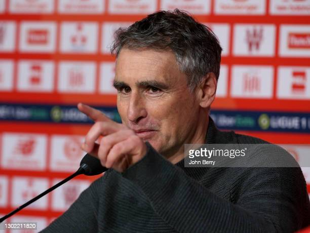 "Coach of Stade Brestois 29 Olivier Dall""u2019Oglio answers to the media during the post-match press conference following the Ligue 1 match between..."