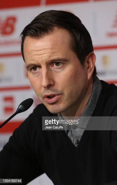 Coach of Stade Rennais Julien Stephan answers to the media during the post-match press conference following the Ligue 1 match between Lille OSC and...