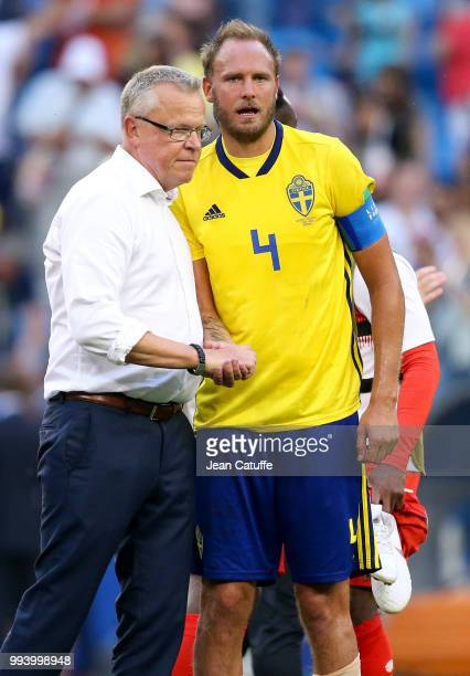 Coach of Sweden Janne Andersson greets his captain Andreas Granqvist following the 2018 FIFA World Cup Russia Quarter Final match between Sweden and...