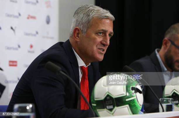 Coach of Switzerland Vladimir Petkovic answers to the media following the FIFA 2018 World Cup Qualifier PlayOff Second Leg between Switzerland and...