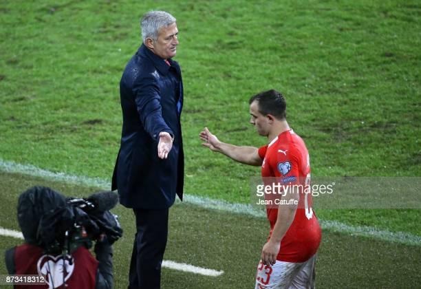 Coach of Switzerland Vladimir Petkovic greets Xherdan Shaqiri during the FIFA 2018 World Cup Qualifier PlayOff Second Leg between Switzerland and...
