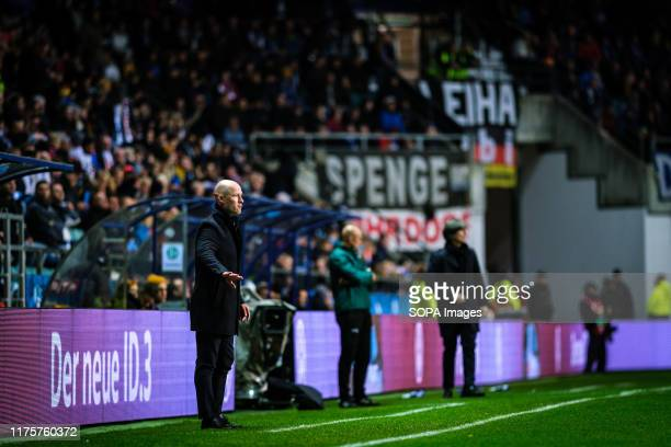 Coach of team Estonia, Karel Voolaid, in action during the Euro 2020 qualifiers game between Estonia and Germany at A. Le Coq Arena. .