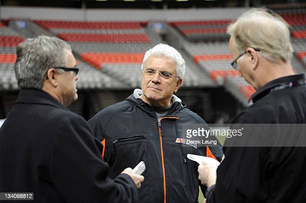 Coach of the BC Lions Wally Buono during and interview after practice at BC Place on November 23 2011 in Vancouver Canada