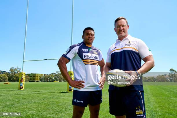 Coach of the Brumbies, Dan McKellar and Captain Allan Alaalatoa pose for a photo during the Brumbies training session at Brumbies HQ on February 11,...