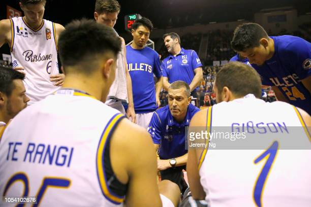 Coach of the Bullets Andrej Lemanis instructs his team during the round three NBL match between the Illawarra Hawks and the Brisbane Bullets at...