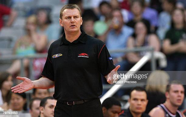 Coach of the Dragons Guy Malloy reacts during the round 22 NBL match between the South Dragons and the Sydney Kings at Vodafone Arena on February 16...