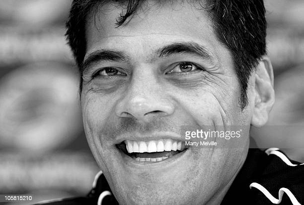 Coach of the Kiwis Stephen Kearney speaks to the media during an England and New Zealand Four Nations press conference at the Westpac Stadium on...