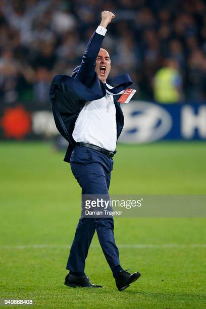 Coach of the Melbourne Victory Kevin Muscat celebrates a Besart Berisha goal that give his team a 21 lead during the ALeague Elimination Final match...