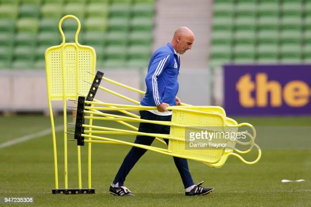 Coach of the Melbourne Victory Kevin Muscat sets up before a Melbourne Victory training session at AAMI Park on April 17 2018 in Melbourne Australia