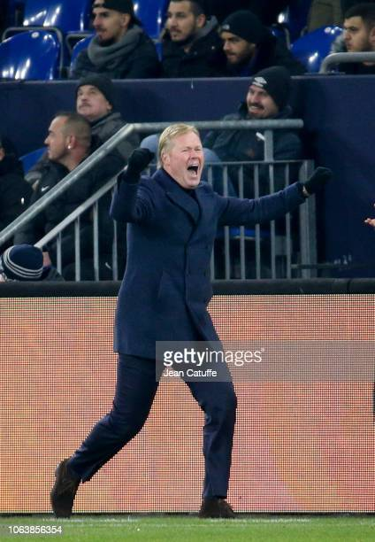 Coach of the Netherlands Ronald Koeman celebrates the tying goal at 22 qualifying his team for the finals in Portugal during the UEFA Nations League...