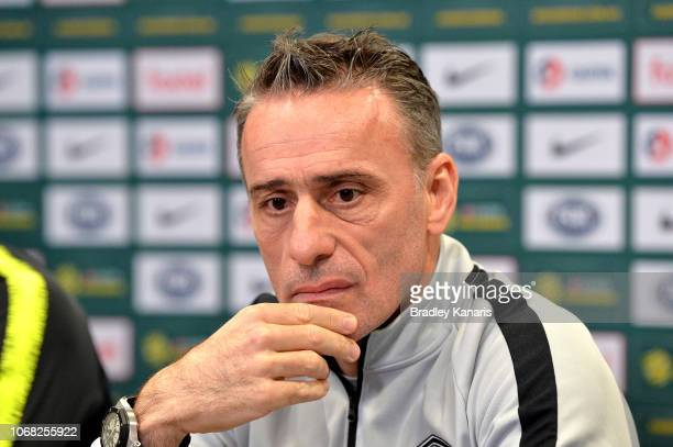 Coach of the Republic of Korea Paulo Bento speaks after an Australian Socceroos training session at Suncorp Stadium on November 16, 2018 in Brisbane,...