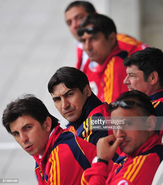 Coach of the Romanian national football team Victor Piturca and the technical staff attend a training session at AFG Arena stadium on June 14 2008 in...