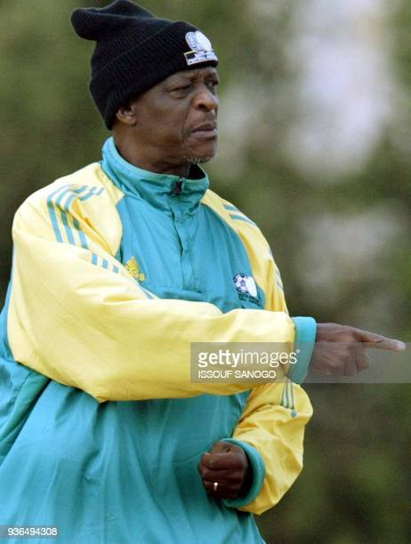 Coach of the South African national soccer team April Styles Phumo directs a training session as John Moshoeu and Stanton Fredericks watch 02...