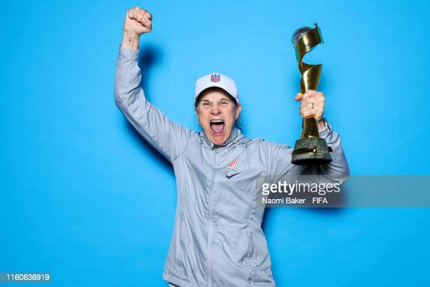 Coach of the USA, Jill Ellis of the USA poses with the Women's World Cup trophy after the 2019 FIFA Women's World Cup France Final match between The...