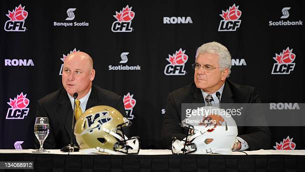 Coach of the Winnipeg Blue Bombers Paul LaPolice and coach of the BC Lions Wally Buono address media during a media conference at Fairmont Waterfront...